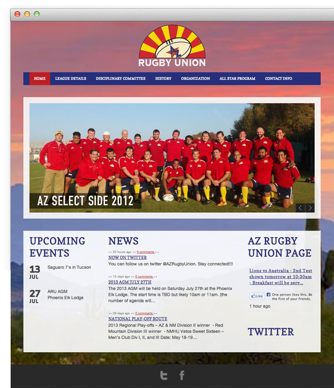 New Arizona Rugby Union website